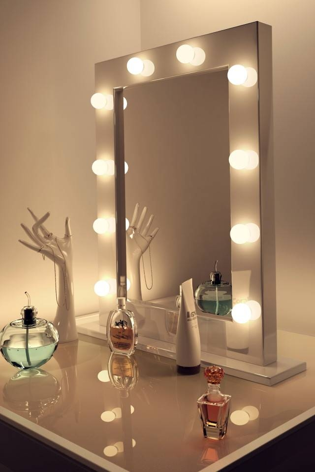 Inspiration about Vanity Makeup Mirror With Light Bulbs Review Doherty House Wall Throughout Light Up Wall Mirrors (#5 of 15)