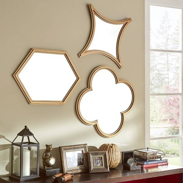 Inspiration about Vega Hexagon Flower Diamond Shape Wall Mirrors (Set Of 3) Within Hexagon Wall Mirrors (#12 of 15)