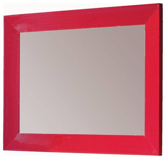 """Inspiration about Viena 55"""" 1/4 Mirror Wall Red Eclectic Bathroom Mirrors Miami, Red With Regard To Red Framed Wall Mirrors (#4 of 15)"""