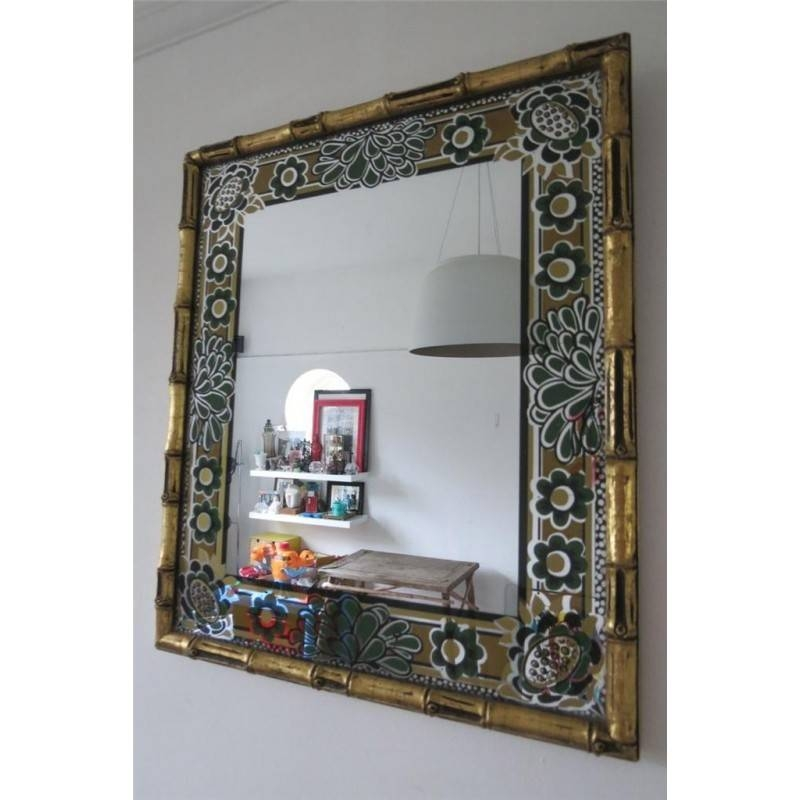 Vintage Asian Style Bamboo Wall Or Table, Dressing Table Mirror For Asian Style Wall Mirrors (#7 of 15)