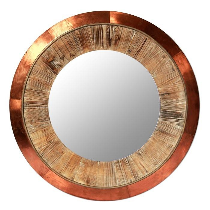 Inspiration about Vintage Large Round Copper Wall Mirror, View Copper Wall Mirror Pertaining To Copper Wall Mirrors (#5 of 15)