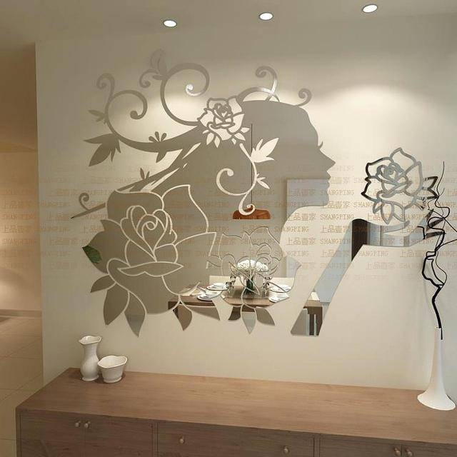 Wall Decal Mirror Frame Removable Diy Sunflower Mirror Wall Decal Regarding Girls Wall Mirrors (View 14 of 15)