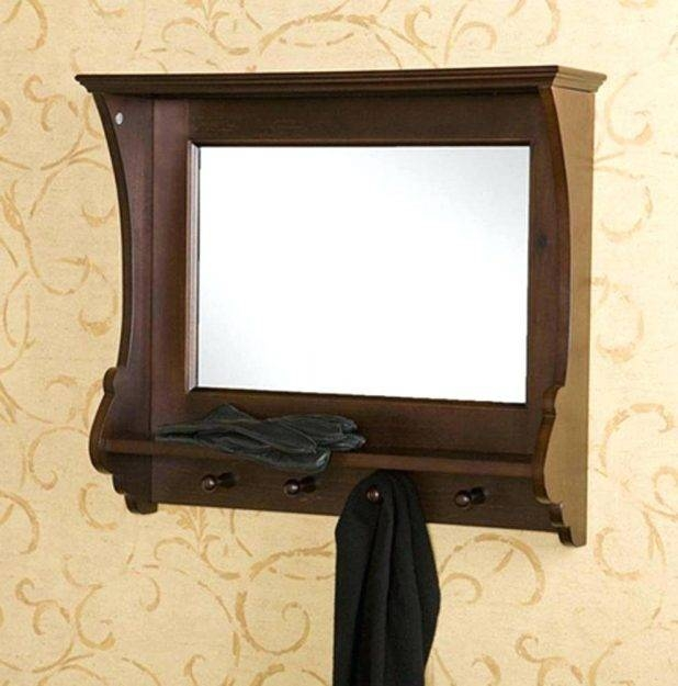 Wall Ideas : Wall Mirror With Hooks Pub Wall Mirror With Shelf And Intended For Wall Mirror With Coat Hooks (#11 of 15)