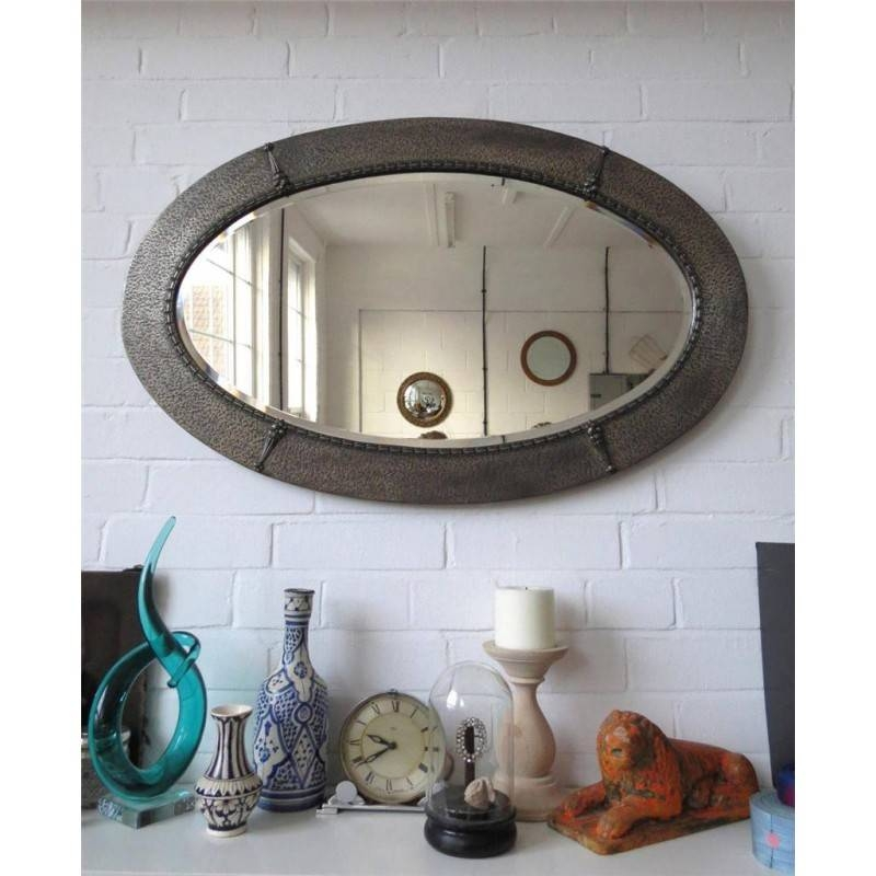 Wall Mirror Pewter Beveled Bevelled Oval Art Nouveau Ornate Metal Regarding Pewter Wall Mirrors (#11 of 15)