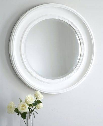 Wall Mirrors ~ Bathroom Wall Mirrors White White Framed Round Wall In White Round Wall Mirrors (#12 of 15)