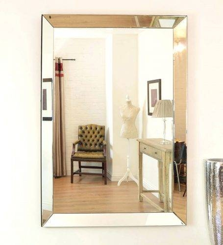 Wall Mirrors ~ Chic Large Frameless Beveled Mirrors Edge Wall Inside Large Beveled Wall Mirrors (View 11 of 15)