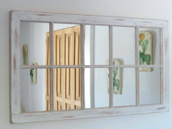 Wall Mirrors ~ Distressed White And Natural Wood 30 Round Wall With Regard To Distressed White Wall Mirrors (#12 of 15)