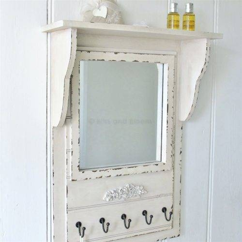 Wall Mirrors ~ Large Black Close Up White Wall Shelf With Coat With Regard To White Wall Mirrors With Hooks (#9 of 15)