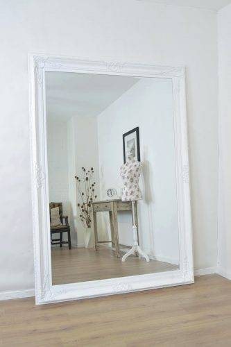 15 best collection of large white framed wall mirrors for Large white mirror