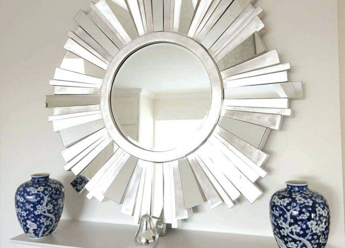 Wall Mirrors ~ Silver Framed Round Wall Mirror Large Circular For Swirl Wall Mirrors (View 12 of 15)