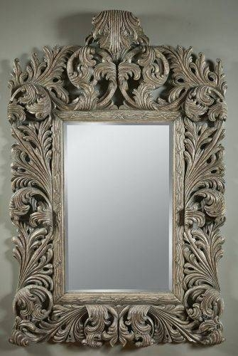 Wall Mirrors ~ Tuscan Style Wall Mirrors Hand Carved Silver Gilded With Tuscan Style Wall Mirrors (#15 of 15)