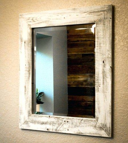 Wall Mirrors ~ White Wood Framed Wall Mirror Diy Framed Mirror Intended For Dark Wood Wall Mirrors (#10 of 15)