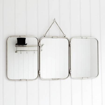 Wall Mount Vanity Mirror, Tri Fold Wall Mirror Bathroom Pottery With Regard To Folding Wall Mirrors (#14 of 15)