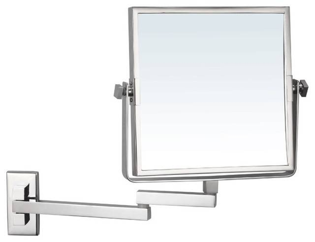 Wall Mounted Double Face Magnifying Mirror – Contemporary – Makeup With Regard To Magnifying Wall Mirrors (#15 of 15)