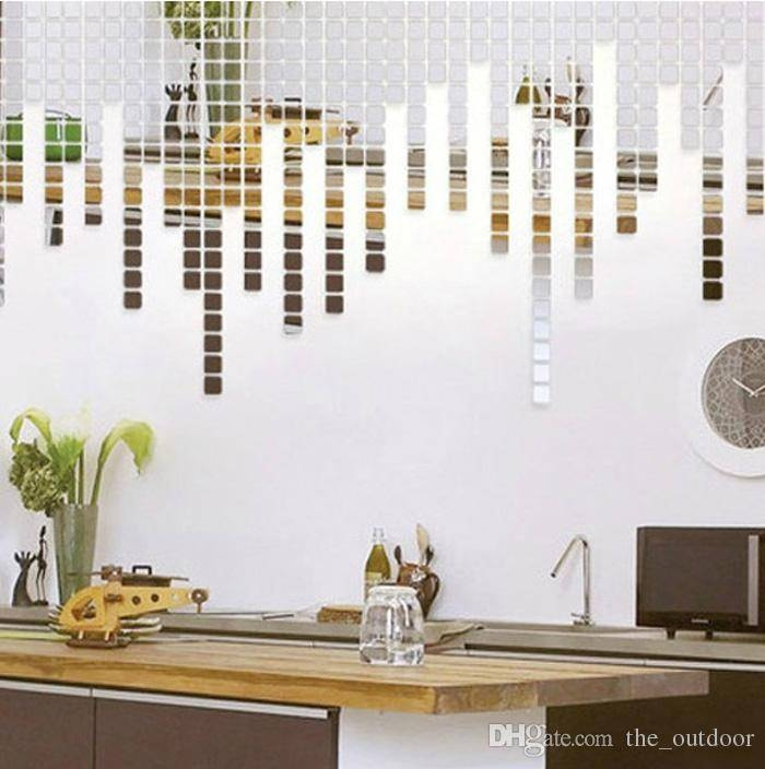 Wall Stickers Home Décor Square Crystal Mirror Wall Decals Intended For Wall Mirror Stickers (#15 of 15)