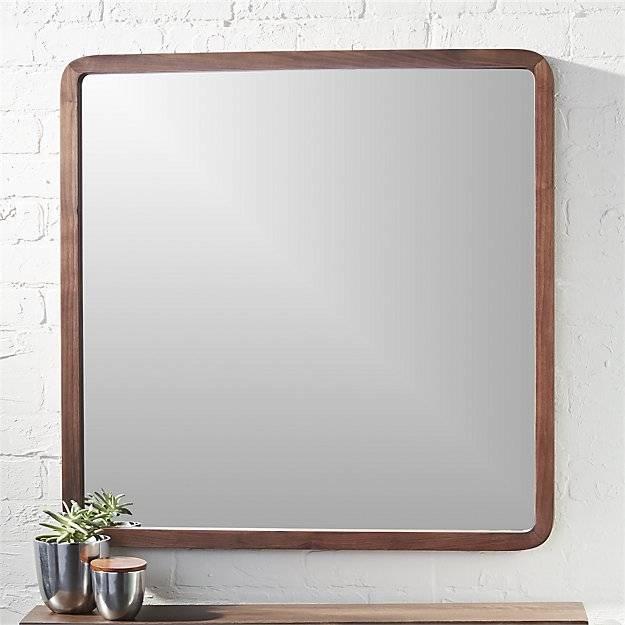 "Walnut 30"" Square Wall Mirror | Cb2 With Walnut Wall Mirrors (View 2 of 15)"