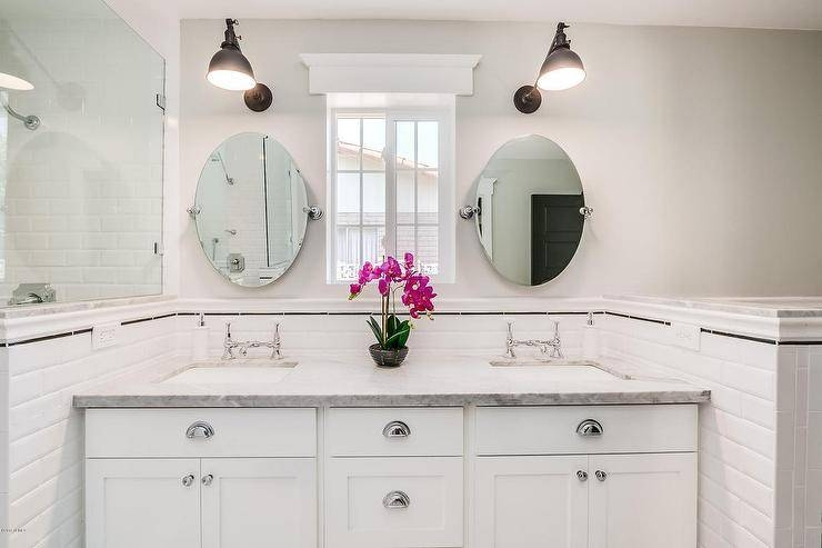 White Beveled Subway Tiles With Black Pencil Tiles – Transitional Regarding Pivot Mirrors For Bathroom (#14 of 15)