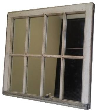 White Distressed Window Mirror – Wall Mirrors  The Decorative Pertaining To Distressed White Wall Mirrors (#14 of 15)