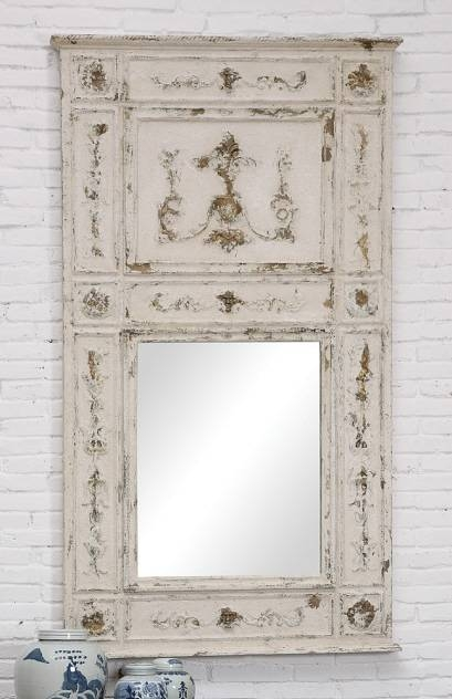 White Distressed Wood Framed Mirror Intended For Distressed White Wall Mirrors (View 6 of 15)