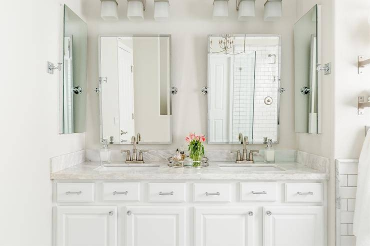 White Double Washstand With Pottery Barn Kensington Mirrors Intended For Pivot Mirrors For Bathroom (#15 of 15)