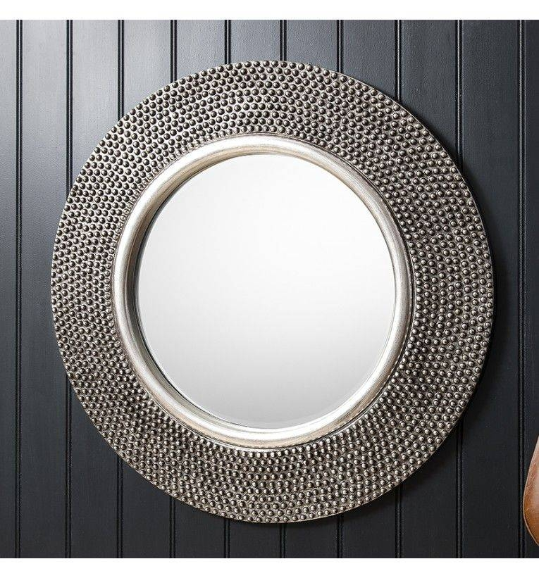 Whittington Round Pewter Wall Mirror Intended For Pewter Wall Mirrors (#14 of 15)