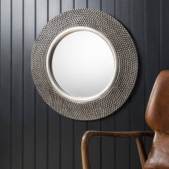 Whitton Wall Mirror Round With Bobble Effect In Pewter In Pewter Wall Mirrors (#15 of 15)