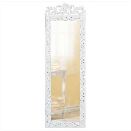 Wholesale Tall Antique Style Wall Mirror: Distressed White Wood With Regard To White Long Wall Mirrors (#15 of 15)