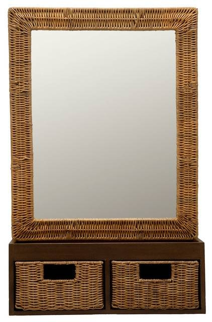 Wicker Foyer Mirror With Drawers – Tropical – Wall Mirrors – Other Throughout Tropical Wall Mirrors (View 7 of 15)
