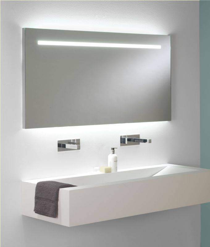 Wide And Tall Illuminated Bathroom Mirror With Backlit Effect Throughout Extra Wide Bathroom Mirrors (#15 of 15)