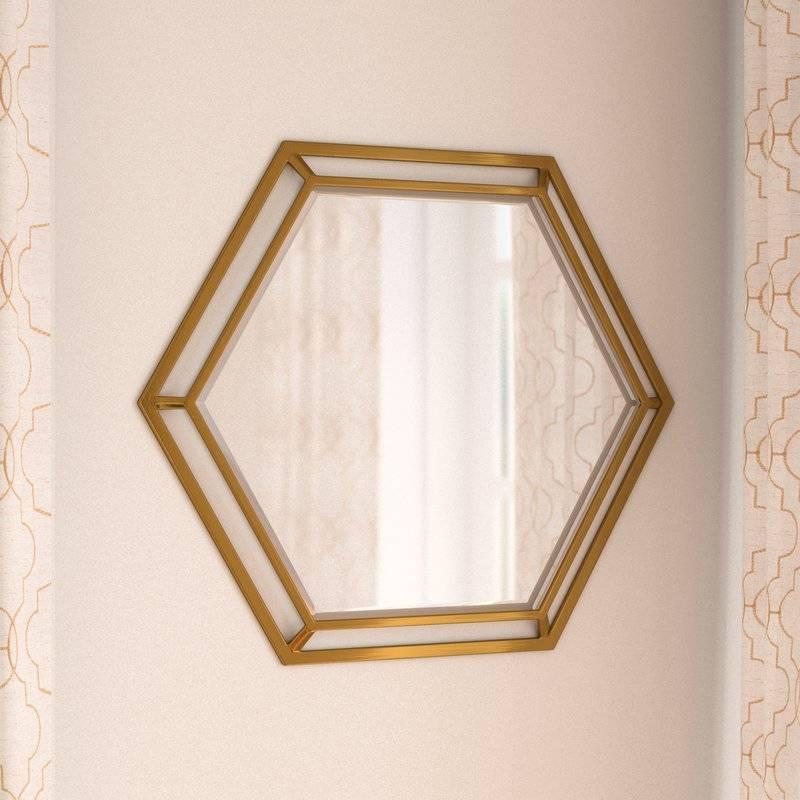 Willa Arlo Interiors Ayansh Hexagon Metal Wall Mirror & Reviews Regarding Hexagon Wall Mirrors (View 14 of 15)