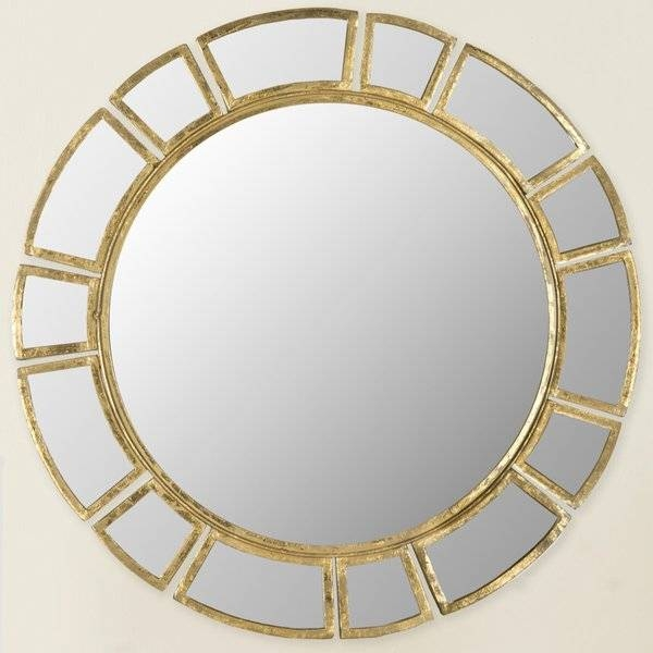 Willa Arlo Interiors Birksgate Round Antique Gold Patina Sunburst For Antique Gold Wall Mirrors (#15 of 15)