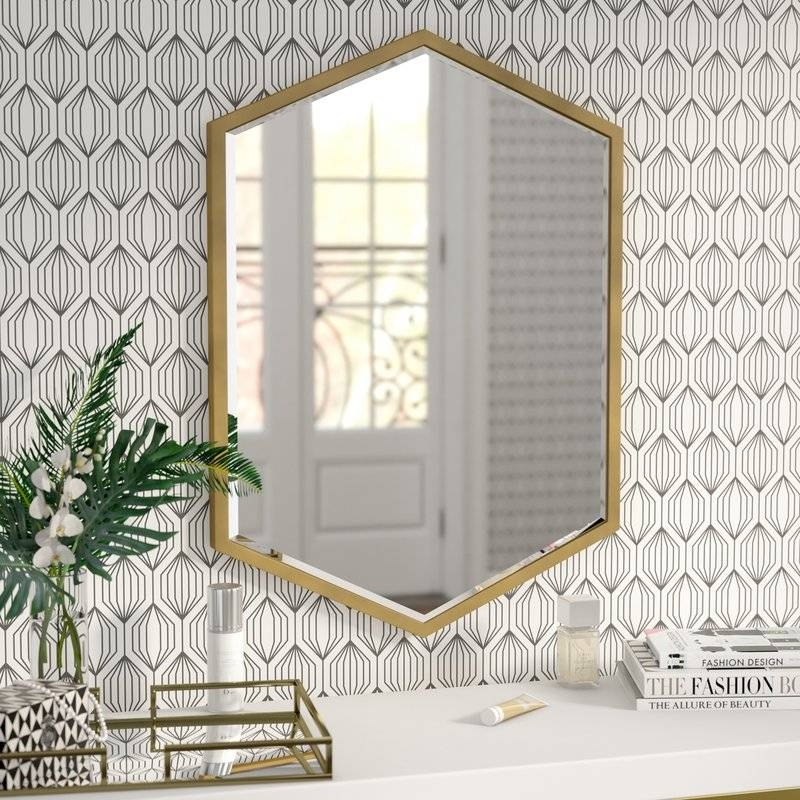 Willa Arlo Interiors Cherine Hexagon Wall Mirror & Reviews | Wayfair Inside Hexagon Wall Mirrors (View 6 of 15)
