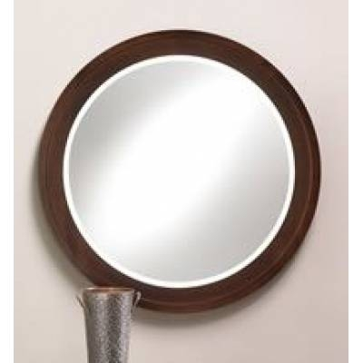 Wood Frame Espresso Finish Round Mirror – Stargate Cinema Regarding Round Wood Framed Mirrors (#14 of 15)