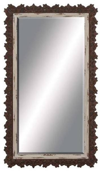 Wood Wall Mirror With Unique Jagged Edged Border – Contemporary In Wood Wall Mirrors (#15 of 15)