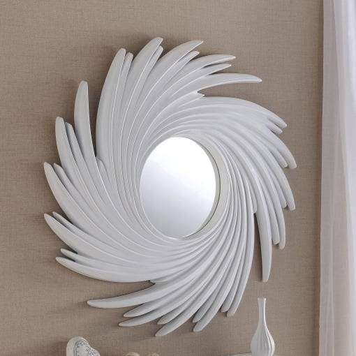 "Yearn Glass Art 295 White Swirl Wall Mirror 39"" – Yearn Glass From For Swirl Wall Mirrors (View 8 of 15)"