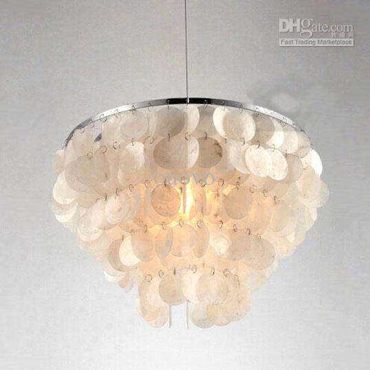 Inspiration about 16 5 Tiers White Natural Shells Hanging Pendant Light Modern In Most Recently Released Shell Pendant Lights (#1 of 15)