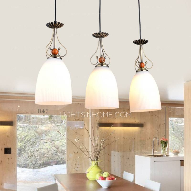 Inspiration about 3 Light Glass Shade Kitchen Country Pendant Lights Within 2017 Country Pendant Lighting (#8 of 15)