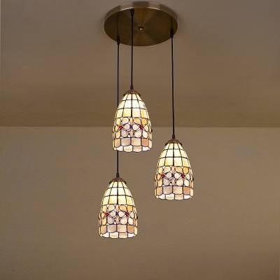 Inspiration about 3 Lights Brass Round Base Shell Tiffany Style Multi Light Pendant For Most Up To Date Tiffany Style Pendant Light Fixtures (#1 of 15)