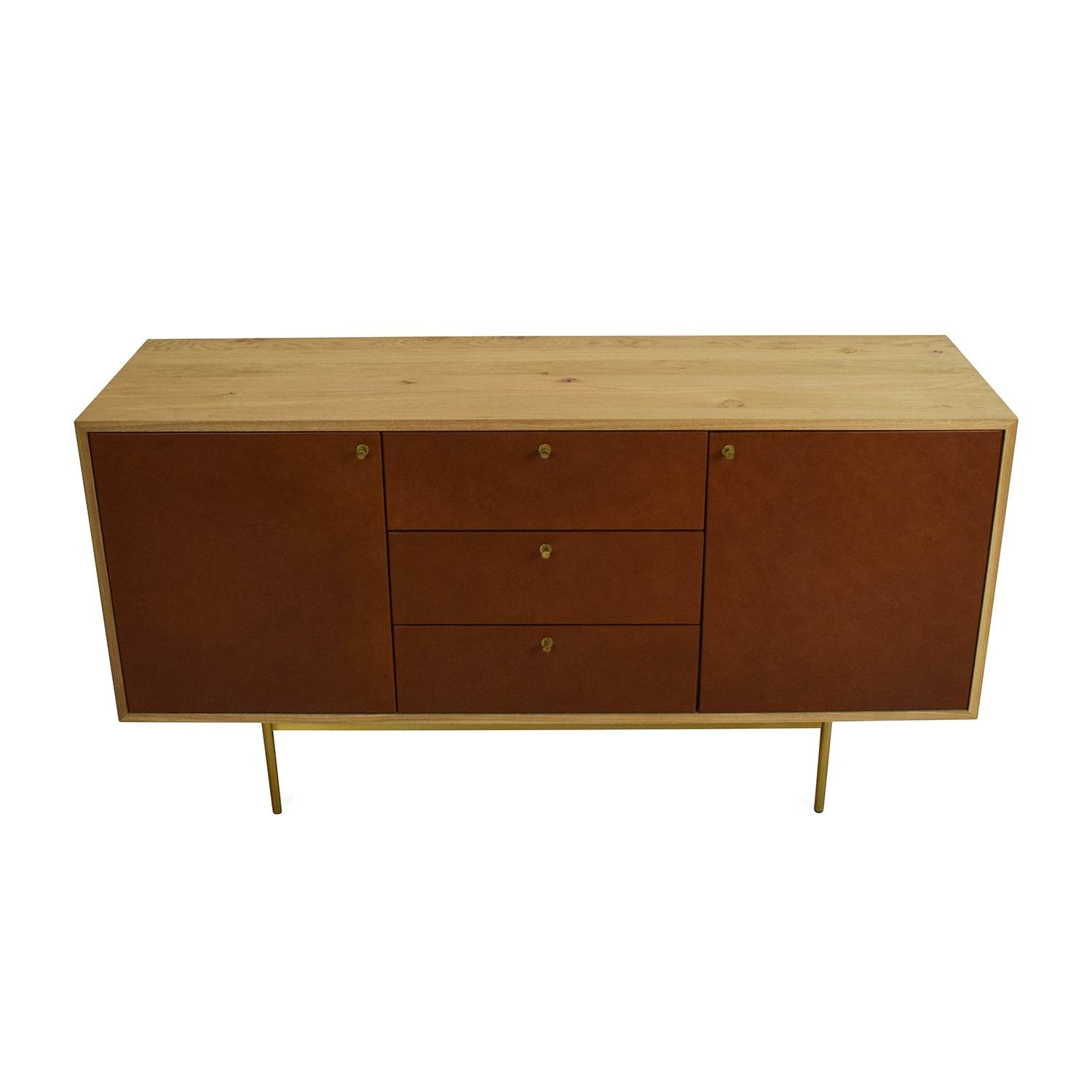 Inspiration about 53% Off – West Elm West Elm Michael Robbins Leather Front Buffet In Recent West Elm Sideboards (#12 of 15)