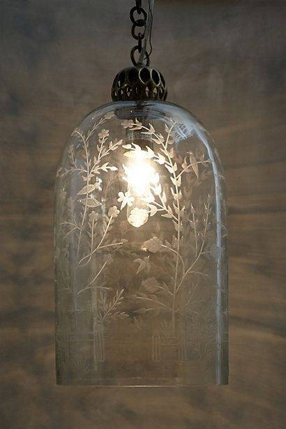 Popular Photo of Etched Glass Pendant Lights
