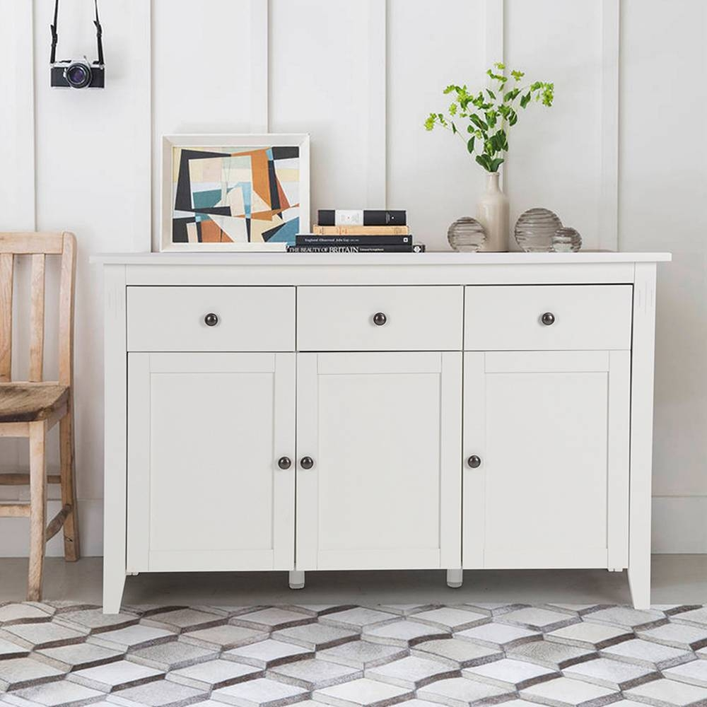 Aingoo Large Space White Minimalist Modern Sideboard/living Room Pertaining To Recent Sideboard Cabinets (#1 of 15)