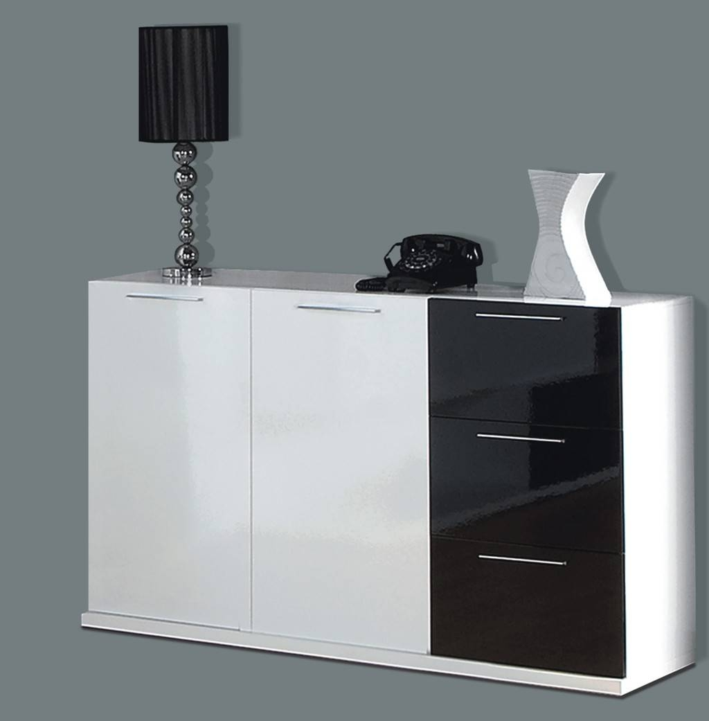 Alida Black And White Gloss Sideboard Regarding Most Recent Gloss Sideboards (#1 of 15)