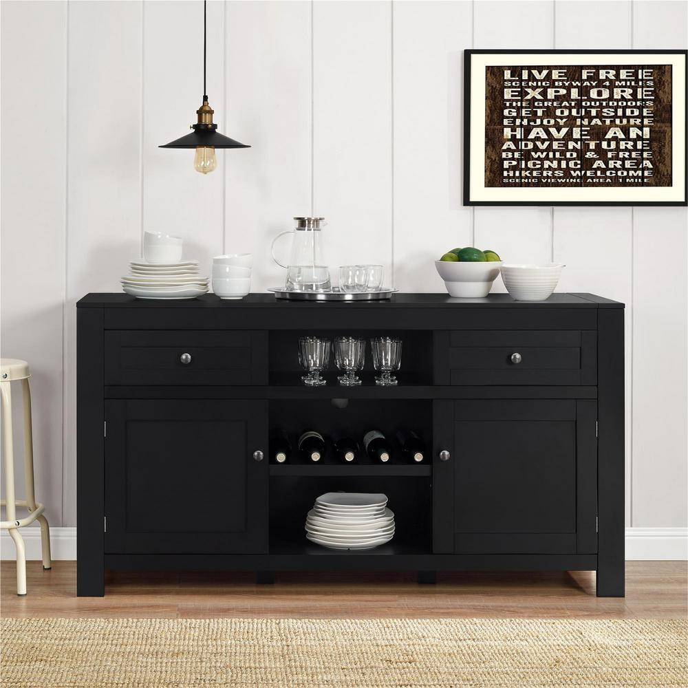 Altra Furniture Hadley Black Buffet With Wine Storage 1787096Pcom Pertaining To Latest 60 Inch Sideboards (#6 of 15)