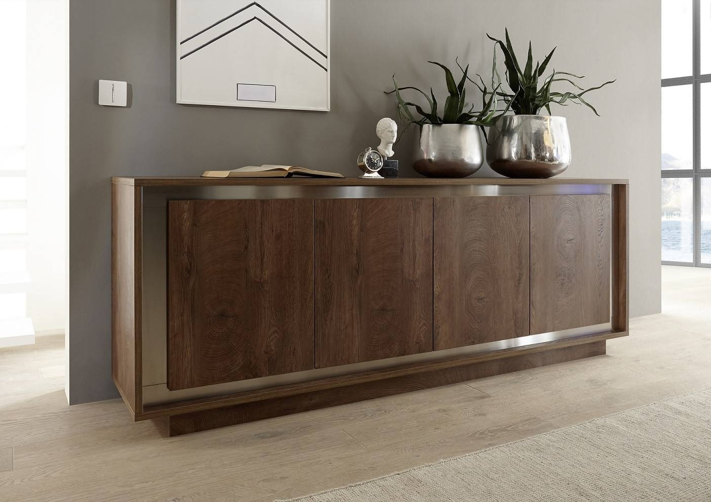 Amber Modern Sideboard In Oak Cognac Finish With Inlays Pertaining To Most Recent Bespoke Sideboards (#1 of 15)