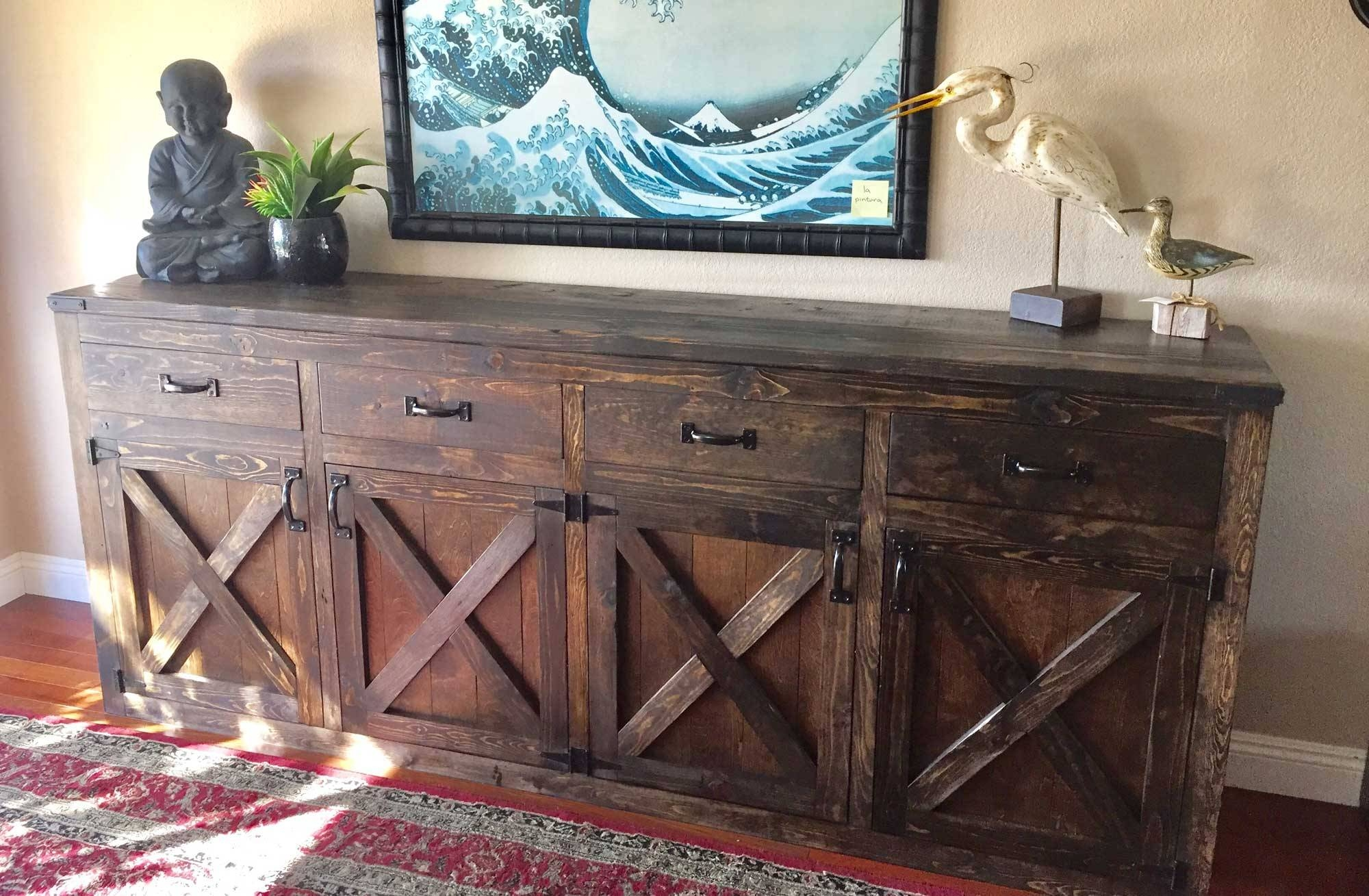 Ana White   Custom 9  Foot Rustic Buffet – Diy Projects Within Best And Newest Rustic Sideboards Buffets (#1 of 15)