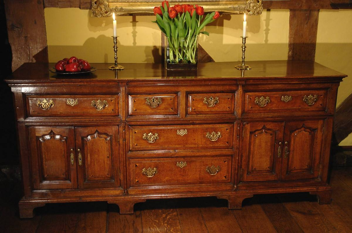 Antique Dresser Base / Sideboard, Georgian Oak – Adams Antiques With 2017 Antique Oak Sideboards (#1 of 15)