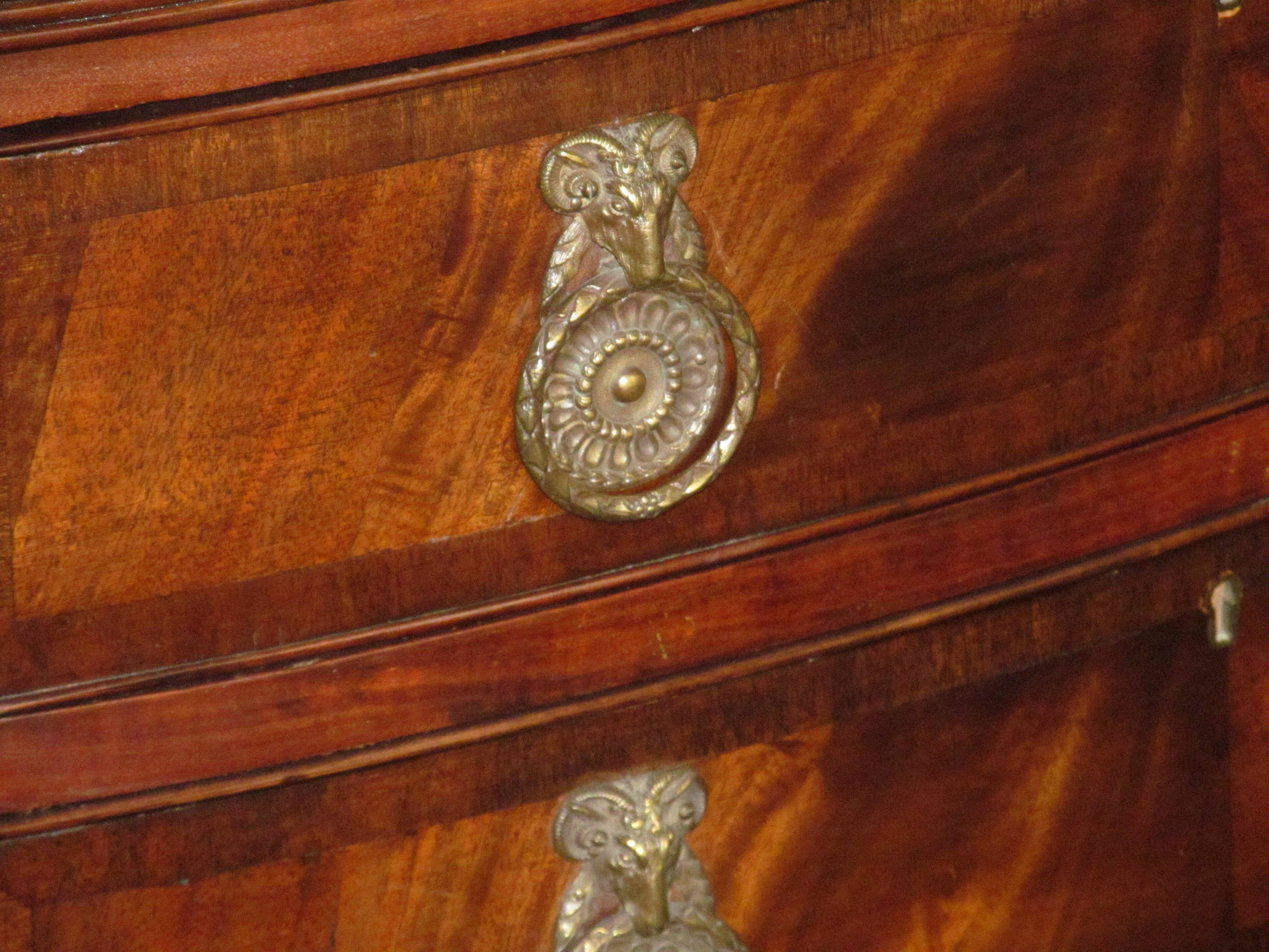 Antique English Crotch Mahogany Serpentine Front Hepplewhite Style Within 2018 Hepplewhite Sideboards (#2 of 15)