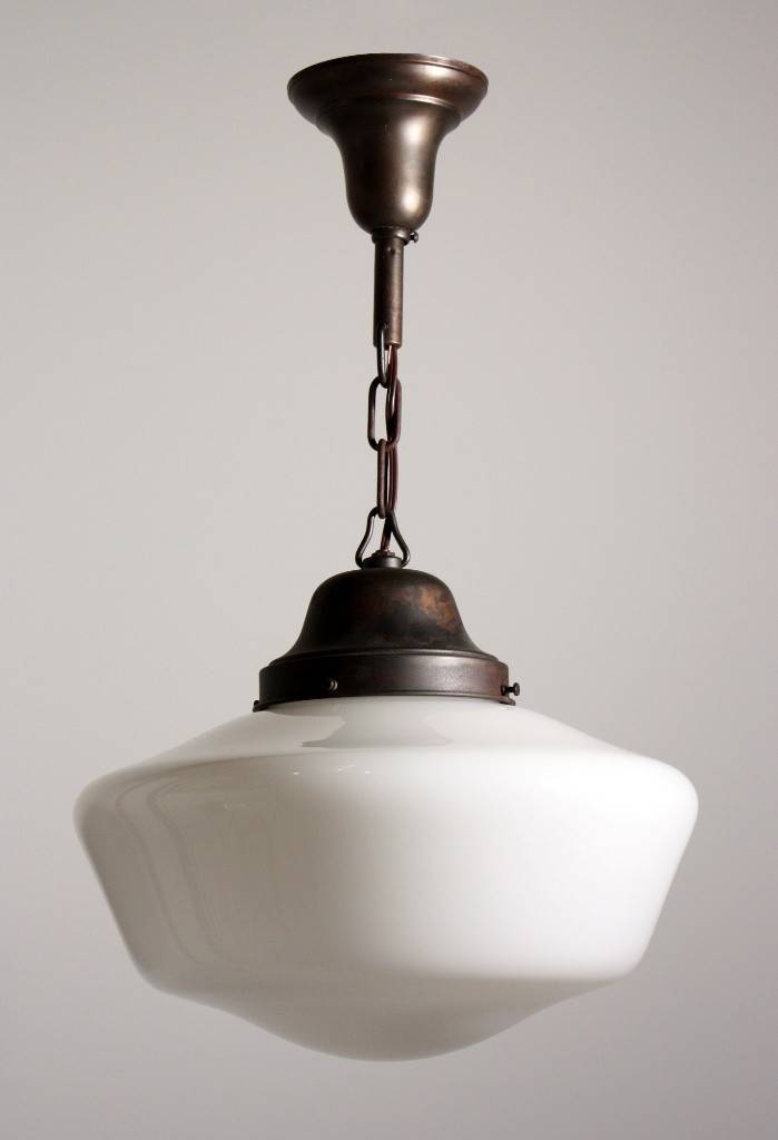 Antique Industrial Schoolhouse Light With Glass Globe, C (#1 of 15)