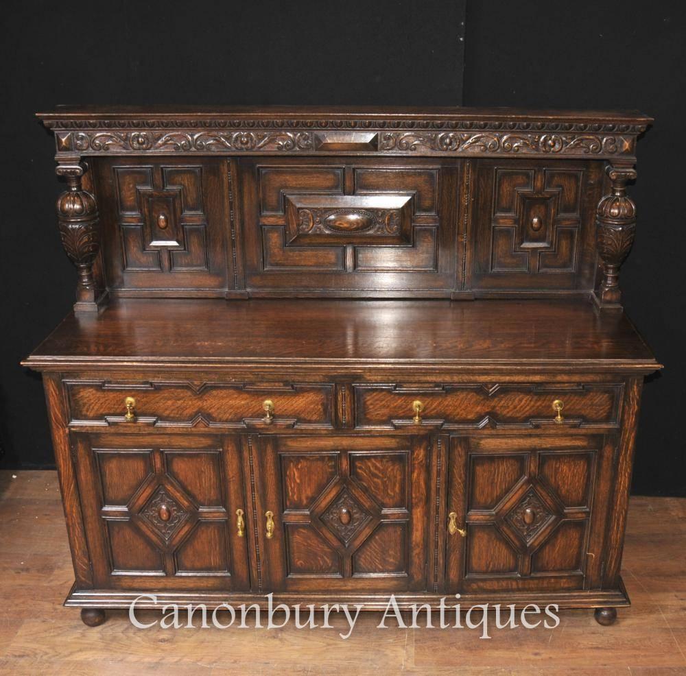Antique Oak Jacobean Sideboard Server Buffet Kitchen Furniture For Recent Jacobean Sideboards Buffets (View 3 of 15)