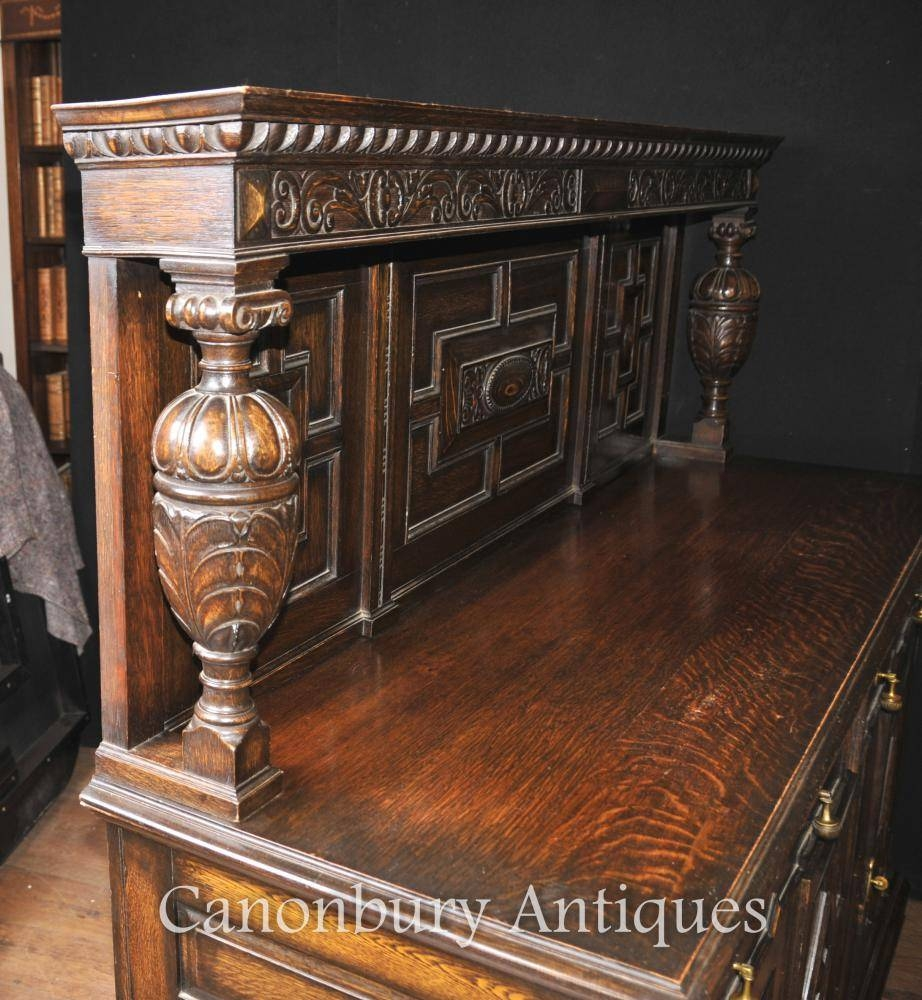Antique Oak Jacobean Sideboard Server Buffet Kitchen Furniture In Best And Newest Jacobean Sideboards Buffets (View 4 of 15)